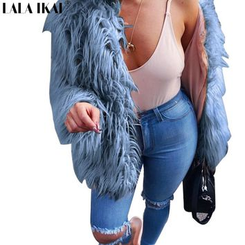 S-3XL Women Winter Faux Fur Coat Women Jackets Blue Fur Coat Jackets Women smooth hair Fake Fur Outerwear SWQ0334-45