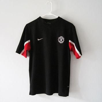 NIKE Manchester United Black Jersey / T-shirt Sporty Soccer - Size S