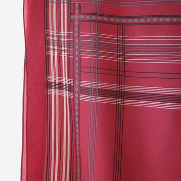 Vintage Grey/Red Plaid Men's Scarf - Upscale P. Florence Paris Large Red/Grey Unisex Scarf; Large Plaid Handkerchief