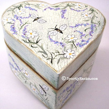 Heart Ring Box Wedding Engagement Ring Bearer Gift Box Honeybee Rustic Natural Woodland Art Flower Herbs Meadow Honey Bee Fields Unique OOAK