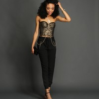 And Black Shimmery Crochet Corset