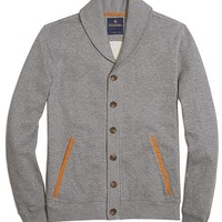 Heathered Button-Front Cardigan with Rib Trim - Brooks Brothers
