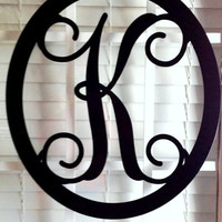 Front Door Wreath/ Metal Monogram Door Hanger/ Initial Wreath/ Wall hanger/ Wedding gift/ Anniversary gift/ Housewarming