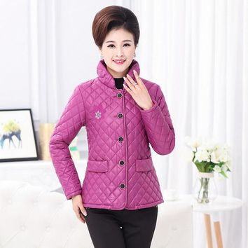 Embroidery Cotton-Padded Jacket Stand Collar Plaid Middle Age Mother Quilted Coat Plus Size Women Warm Winter Wadded Outerwear