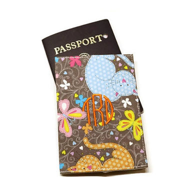 Monogrammed cats passport cover, case, holder. Personalized cats theme gift. Gray and colors!