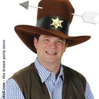 Men's Western Plush Hat with Arrow - Brown - One-Size for Halloween