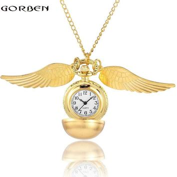 Luxury Gold Steampunk Vintage Wings Round Ball Pocket Watches Harry potter Pendant Chain Necklace watch Unisex Reloj de bolsillo