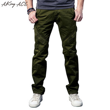 Mens Vintage Army Green Cargo Casual pants military cargo pants for men zipper knee Baggy trousers Loose fit 29-38, ZA223