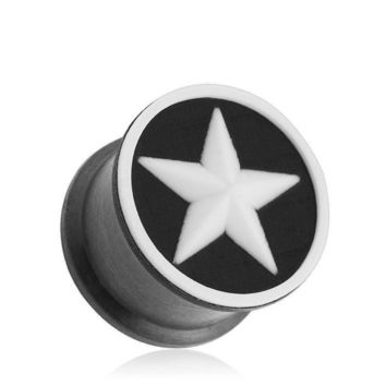 """PAIR-Flexi Star on Black Double Flare Silicone Plugs 11mm/7/16"""" Gauge Body Jewel"""