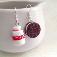 Cookies and Milk Dangle Earrings. Whimsical. Miniature Food. Kawaii. Oreo Cookie Earrings. Mismatched Earrings. Under 15. Cute. Silver. Fun