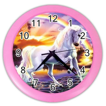 js1024_Rainbow_Unicorn Color Wall Clock