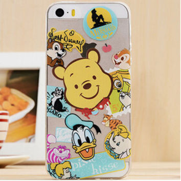 Cute Cartoon Collage TPU Transparent Soft Phone Back Case Shell Cover for iPhone 5 5S SE
