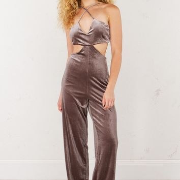 Exposed Cross Back Velvet Jumpsuit in Pinot