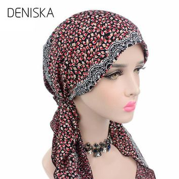 DENISKA 2018 New Women Head Scarf Chemo Hat Turban Pre-Tied Headwear Bandana Tichel For Cancer Ladies headscarf coif