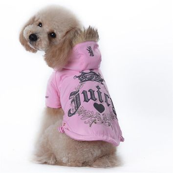 Luxury Dog Clothes For Dogs Cat Jacket Warm Winter Coats Outwear Ski Puppy Clothing With Fur Collar Pink Black Blue Purple