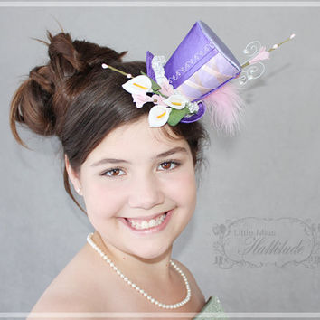 Purple Mini Hat, Flower Fascinator, Mad Hatter Hat, Mini Hat, Tea Party Hat , Baby Shower