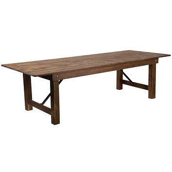 "HERCULES Series 9' x 40"""" Solid Pine Folding Farm Table"""
