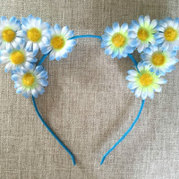 Flower cat ears headband, Floral Cat Ears, Flower Headband, Flower Crown, Flower Halo, Mahogany Lox, cat ears, Festival, Rave, EDC, EDM