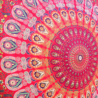 MANDALA RED Fabric Cotton Throw Printed Wall Tapestry Hippie Wall Hanging Bohemian Boho Mandala Bedding Bedspread Dorm Decor