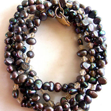 Fresh Water Pearl Crystal Stretch Bracelet, Gray Shades, Silver Heart, Multi Strand, Vintage