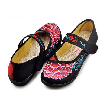 Vintage Embroidered Flat Ballet Ballerina Cotton Mary Jane Chinese Shoes for Women in Velvet Black Floral Design