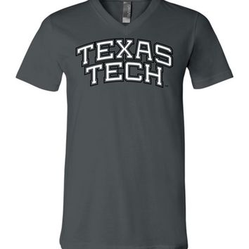 Official NCAA Texas Tech University Red Raiders TTU Masked Raider WRECK EM! Unisex V-Neck T-Shirt - TEXT1049-A