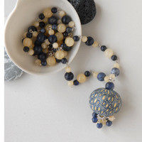 Navy blue and yellow silver necklace