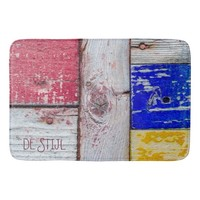 Funny Neoplasticism wooden art style customizable Bath Mat