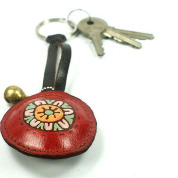 flower red key ring leather by rntn on Etsy