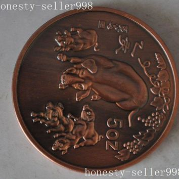 christmas Christmas gift  Chinese collection Rare 1995 zodiac pig animal beast commemorative coins halloween