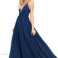 Evening Dream Navy Blue Maxi Dress