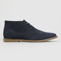 Trigger Navy suedette lace up chukka boots