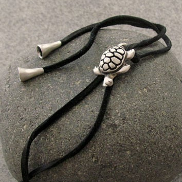 Sterling Silver Turtle Necklace, American Western Bolo Tie, Leather Lariat, Tortoise Pendant, Handmade Silver Jewelry, Cowboy Men Necklace