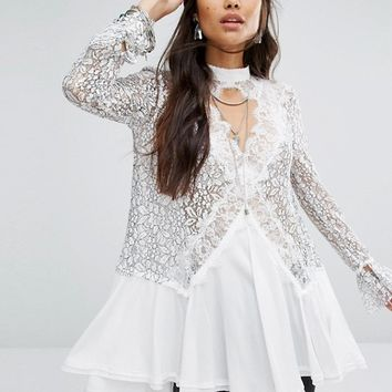 Free People New Tell Tale Lace Long Sleeve Tunic at asos.com