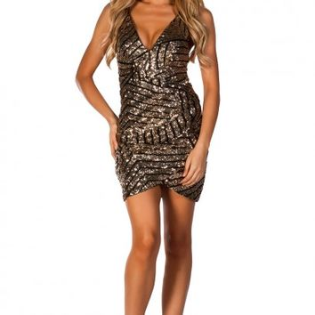 Kaydence Gold Geometric Pattern Strappy Micro Sequin Dress