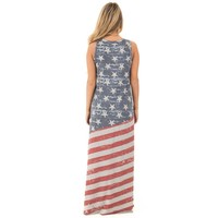 Independence Day American Flag Print Maxi Dress