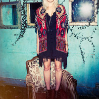 Women's Fall Red/Rust Aztec Print Black Fringe Kimono Cardigan