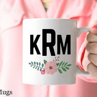 Monogram Coffee Mugs, Personalized Coffee Mugs, Custom Name Mugs, Monogrammed Gifts, Preppy Gifts, Monogram Gifts for Her, Tea Mugs (P411)
