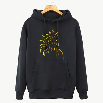 Women's Sportswear Hoody 2018 Autumn Winter Streetwear Fashion Animal Fire Horse Cartoon Hoodies Female Hip Hop Lady Sweatshirt