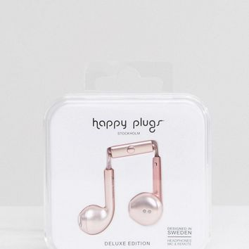 Happy Plugs Pink Gold Earphones at asos.com