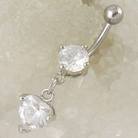 New Charming Dangle Crystal Navel Belly Ring Bling Barbell Button Ring Piercing Body Jewelry = 4804906820