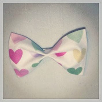 Pink, Green and Yellow Heart Hair Bow