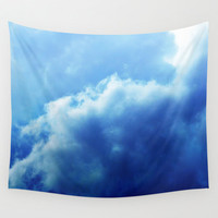 Indigo Sky 3 - Wall Tapestry, Deep Blue Cloudscape, Wall Hanging, Boho Chic Home Decor Backdrop Accent Throw Cover. In 51x60 68x80 88x104