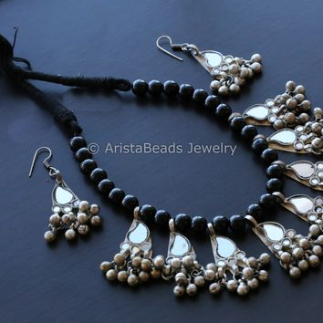 Mirror Glass  Beaded Necklace