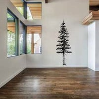 Tall Redwood Pine Tree Vinyl Wall Decal Sticker