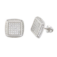 925 Sterling Silver Mens Stud Earrings Clear CZ Screwback Square 12mm