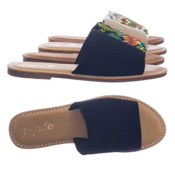 Maintain by Bamboo Wide Band Flat Slide Sandal w Solid Or Embroidered Floral Fabric