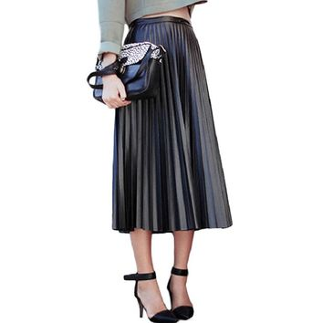2017 New Spring Autumn Women Skirts Vintage High Waist Black Faux Leather Skirts Female Slim Party Midi PU Pleated Skirt AB057