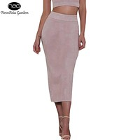 Good Quality Women's High Waist Suede Skirts Midi Length Winter Autumn Spring Back Slit Pencil Skirts Stretchy New 2017 Size S-L