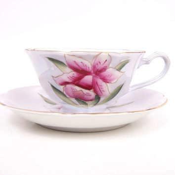 Vintage Shafford Teacup Maroon Iris Design Iridescent Lusterware Tea Cup and Saucer Made in Japan